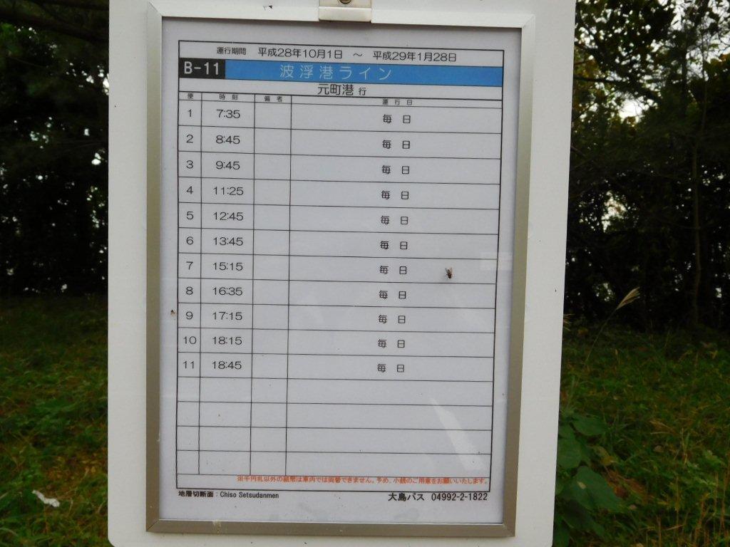 伊豆大島 地層切断面 バス時刻表